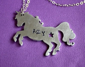 Unicorn Necklace - Name Pendant - Hand Stamped