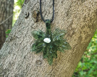 Hand-Made Green Maple Glass Leaf Necklace with Opal Incased on Leather Cord