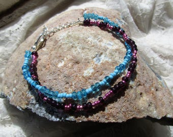 Purple and blue double bracelet