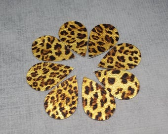 Metallic Leopard Print Leather Teardrops, 4 pairs of Leopard Print with Metallic Gold Color, 8 pieces, Genuine Leather for Earring Making