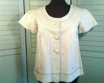 Real Leather Top Scoop Neckline Button Gathered Top Stiching Buff Cream Off White Shirt Blouse Scarlet Roos Women's Size M Medium L Large