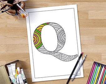 Intricate Alphabet Coloring Pages : Zentangle alphabet coloring pages for adults letter h henna