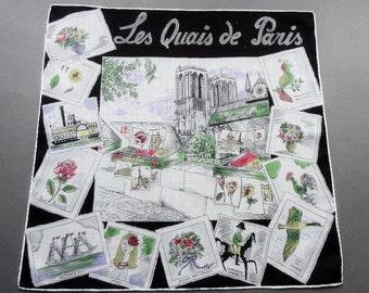 Les Quais de Paris - Vintage Souvenir Novelty Cotton Hankie Handkerchief