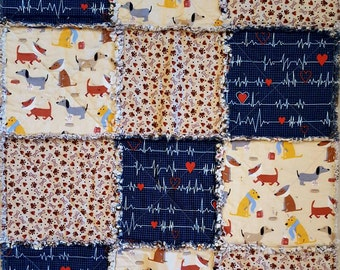 Small Holiday Rag Quilt - Sick Dog Get Well Theme