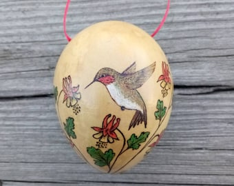 Ruby-Throated Hummingbird with Columbine Woodburned Gourd Ornament