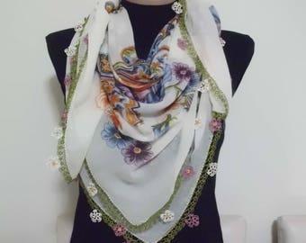 Cotton Turkish Scarf with Needle Lace Handmade/ oya / yazma 3