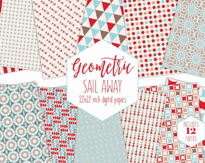 RED & BLUE NAUTICAL Digital Paper Pack Geometric Backgrounds Ocean Scrapbook Papers Boys Patterns Birthday Party Printable Commercial Use