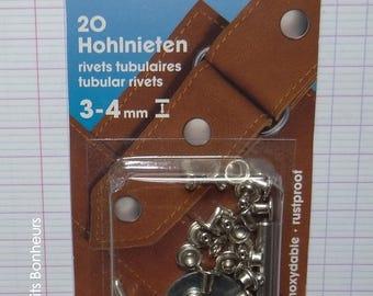 20 silver rivets, tubular, height 3-4 mm - Prym 403 150 fabric
