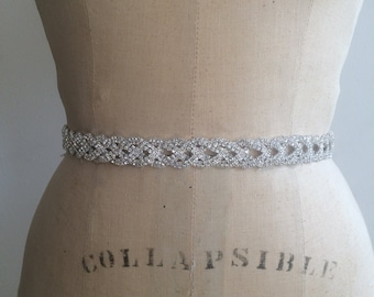 Bridal Belt-Bridal Sash-Bridesmaid Belt-Art Deco Rhinestone Beaded Bridal Sash Belt-Bridesmaid Sash-Vintage Rhinestone Crystal Wedding Sash