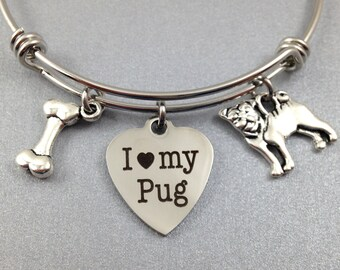 Pug Charm Bracelet, Pug Charm Bangle, I Love My Pug, Dog Bangle, Gift for Pug Lover, Pug Lover Jewelry, Pug Jewelry