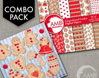 COMBO Christmas Clipart and Digital Papers, Gingerbread Clipart, Christmas Cookies, Gingerbread Papers, Commercial Use, AMB-1694