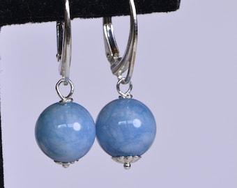 Minimalist Earrings Gemstone  Quartz Blue  Earrings Wire Wrapped Sterling Silver Drops