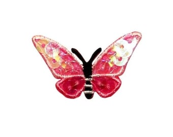 ID 2151A Sequin Butterfly Patch Garden Bug Picnic Embroidered Iron On Applique