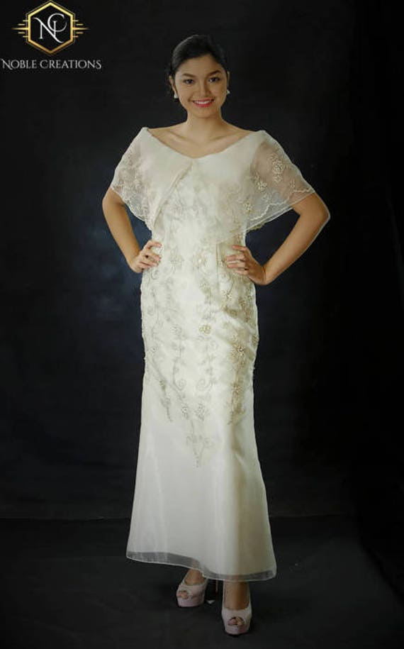 Filipiniana Dress Embroidered Off Shoulder Gown Philippine