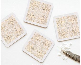 "Coaster Set of 4 ""Maze"" by Iveta Abolina, Floral Cork Coasters, Abstract Floral Pattern Coaster Set, Illustration Coasters I194"