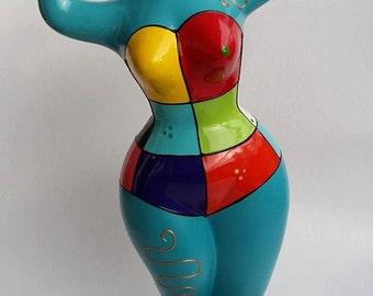 """Statue in style Nana by Niki de Saint Phalle, Model """"Alys"""" decoration by Laure Terrier, UNIQUE PIECE !"""