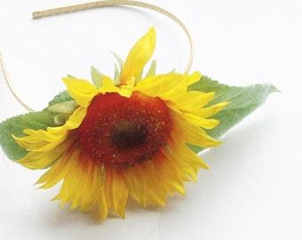 Sunflower hair flower headband fascinator