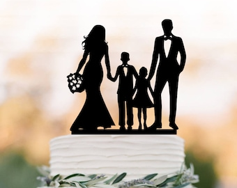 family Wedding Cake topper with son and doughter, bride and groom with boy and girl silhouette cake topper