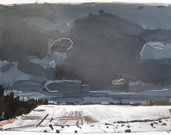 Ice Field, March 25, Original Acrylic Landscape Painting on Paper, Stooshinoff