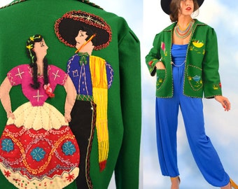 Vintage 40s 50s Green Wool Felt Hand Embroidered and Embellished Mexican Souvenir Jacket
