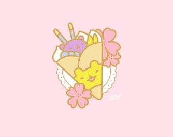Hanami Bear Crêpe Enamel Pin PREORDER, 30mm, Hard Enamel, Gold, Pink, Green, Pastel, Cute, Kawaii, Japan, Sakura, Flowers, pancake