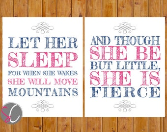 Let Her Sleep She Will Move Mountains Fierce Navy Pink Grey Baby Girl Nursery Wall Art 8x10 Digital JPG   Instant Download (228)