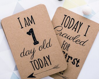 Kraft Baby Milestone Cards. Gender Neutral Design. Celebrate your baby's milestones. Perfect Baby Shower Gift.