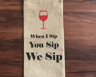 Burlap Wine Bags | Engagement Wedding Gifts | HostessGift |