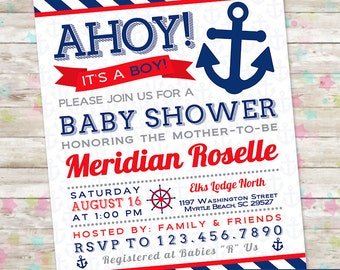 Baby Boy Shower, Ahoy Its a Boy, Nautical Invite, Anchor Invitation, Red and Navy, Baby Shower Printable, DIY, Baby Boy