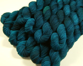 Hand Dyed Yarn, Sock Yarn Mini Skeins, Sock Weight 4 Ply Superwash Merino Wool - Deep Sea Tonal - Blue Green Fingering Yarn, DIY Gift