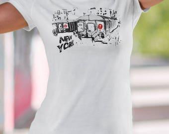 New York City Tee Subway trains Ladies' Tri-blend Short Sleeve T-Shirt New York gift-Typography Art-Nyc design-Graphic rzdy