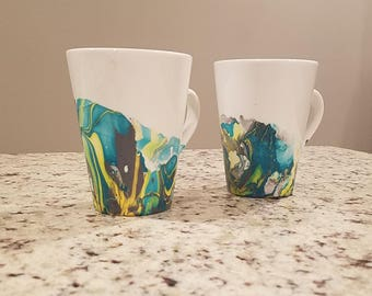 Set of 2 Marbled Mugs -Turquoise Waves