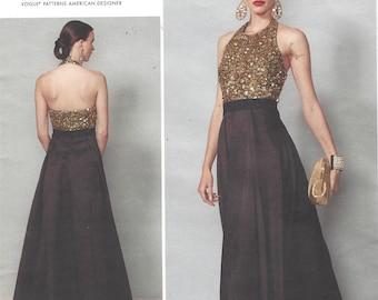 Badgley Mischka Womens Stunning Evening Gown Halter Top Vogue Sewing Pattern V1534 Size 14 16 18 20 22 Bust 36 38 40 42 44 UnCut