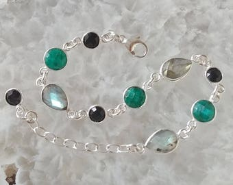 Labradorite, Emerald, Black Onyx and Sterling Silver Bracelet