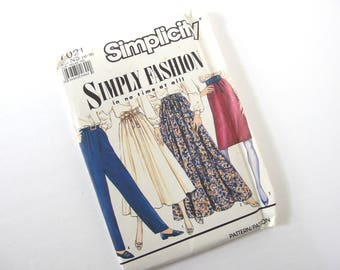 Uncut Vintage Pattern for Skirts, Pants and Obi Belt, Simplicity 7021, Size 10, 12, 14, 16, 18, Hips 34.5, 36, 38, 40, 42 Inches
