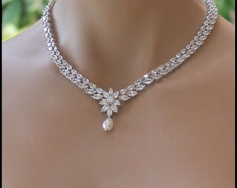 Crystal Bridal Necklace, Crystal Necklace, Crystal Bridal Jewelry, Wedding Necklace,  COLETTE
