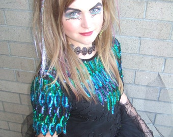 Upcycled Steampunk Clothing, Little Mermaid - Ursula Sea Witch Costume Lime Green & Black Dress
