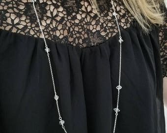 Long herkimer diamond necklace on sterling silver chain