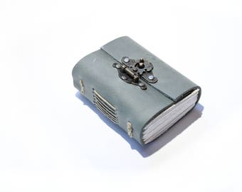 The Travellers Journal A7 - Handmade leather journal with metal hasp.
