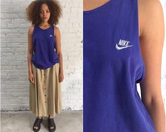 vintage 90s Nike racerback cotton tank / purple athletic sleeveless sports top