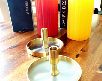 Pair of Mid Century Dansk IHQ (Denmark) Brass Candle Holders--Jens Quistgaard--Plus 2 Dansk (Denmark) Pillar Candles w/ Original Boxes
