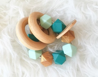 Teething Rattle Fairytale GiftTeether Toy Soothing Toy Sensory Toy Baby Toy Waldorf Natural Toy Wood Rattle Wood Teether Teether Rattle