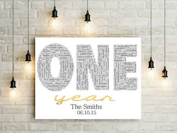 First Wedding Anniversary Gifts For Couple: First Anniversary Canvas Gift For Her First Anniversary Gift