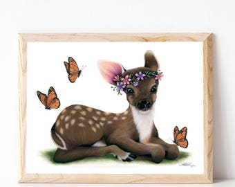 """A3 Baby Fawn Print """"Natures Beauty"""""""