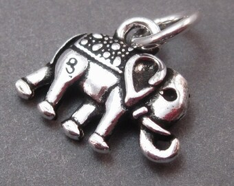 Sterling Silver Elephant Charm, Elephant Pendant, Bracelet Charm, Necklace Charm with Sterling Silver Jump Ring