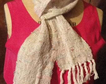 Handwoven Long Scarf Pinks Golds, and Blues