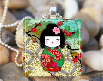JAPANESE WASHI DOLL Kokeshi Chiyogami Ningyo Doll Glass Tile Pendant Necklace Keyring
