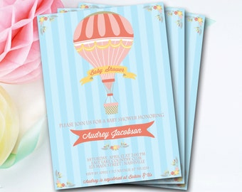Hot Air Balloon Baby Shower Invitation, Hot Air Balloon Invitation, Hot Air Balloon Invite, Vintage Baby Shower Invitation, DIY Printable