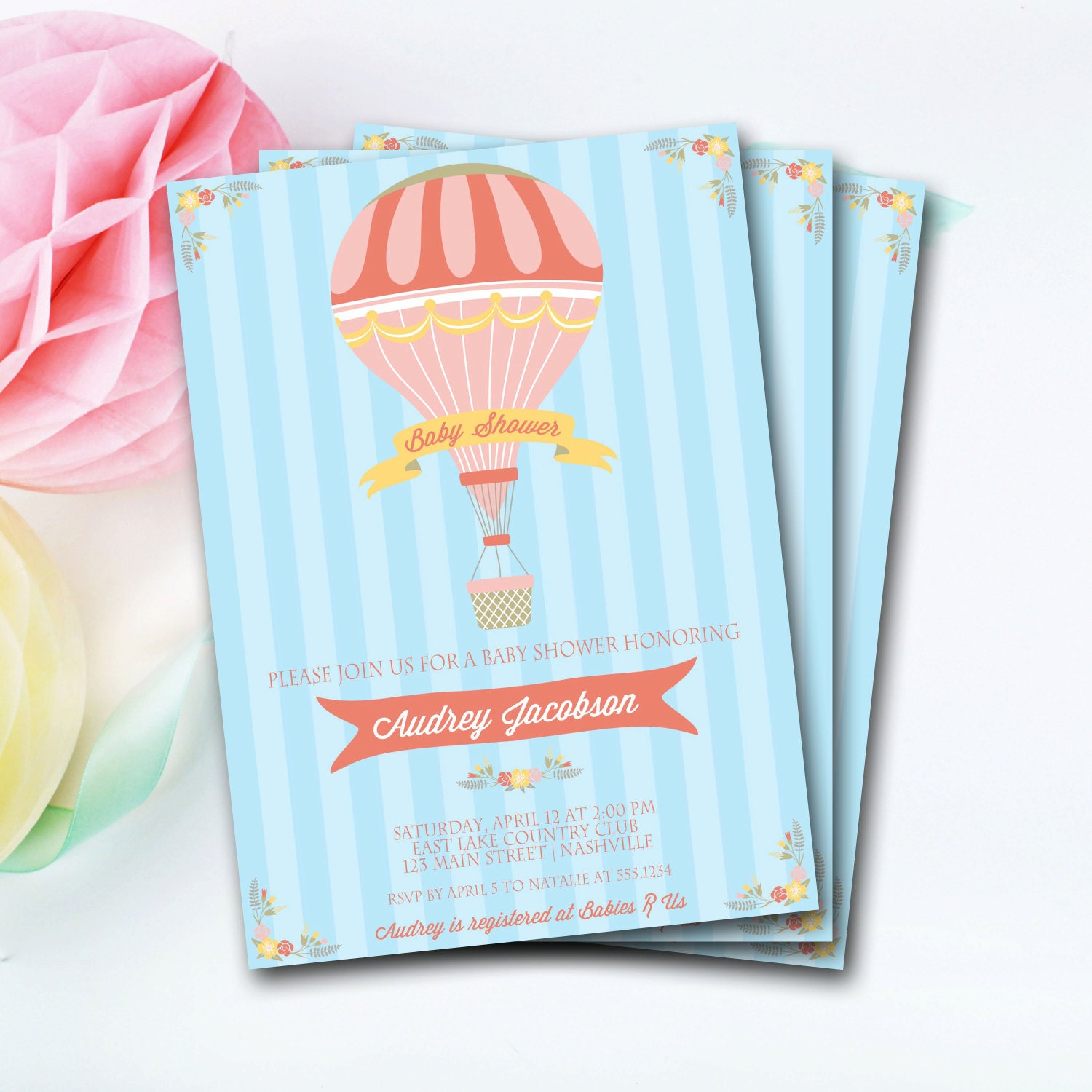 Hot air balloon baby shower invitation hot air balloon invitation hot air balloon baby shower invitation hot air balloon invitation hot air balloon invite vintage baby shower invitation diy printable filmwisefo Image collections