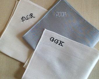 Custom Color Silk Pocket Squares - Monogrammed